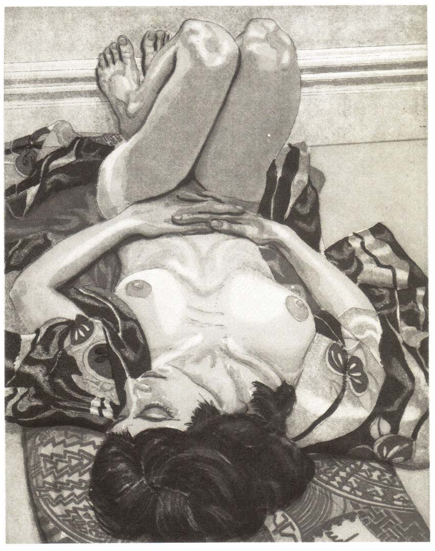 1982 Reclining Nude with Kimono Aquatint Etching on Paper 10 x 8