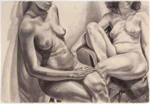 1982 Two Models One on Eames Chair Graphite on Paper 30.25 x 44