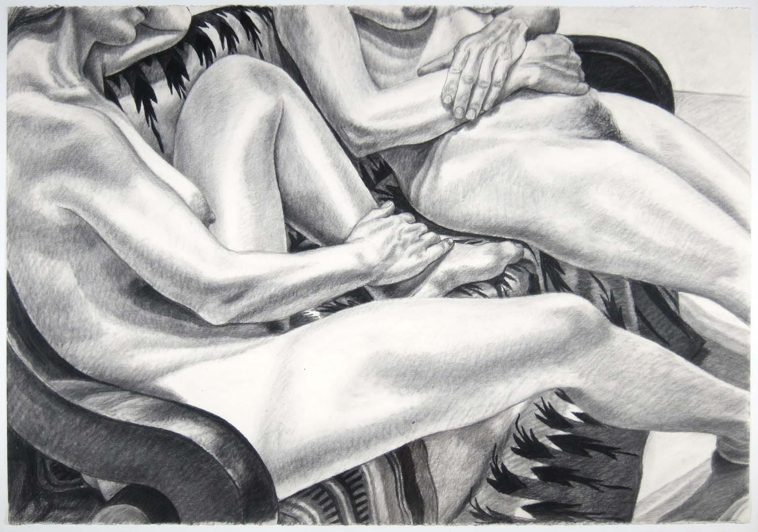 1982 Two Models Seated on a Mexican Blanket Charcoal 30 x 44