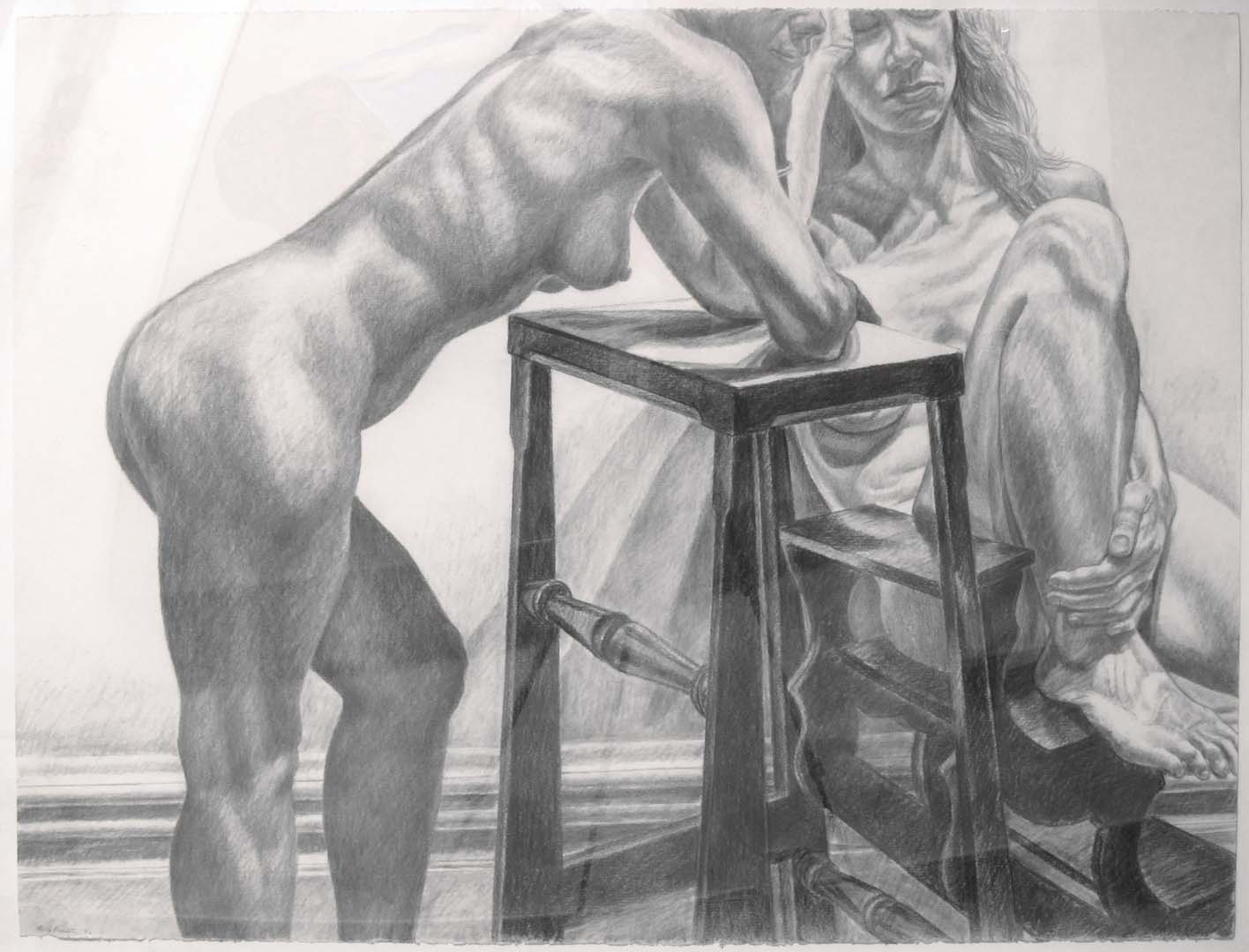 1982 Two Models with Library Ladder Charcoal 36 x 44