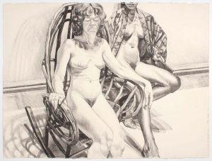 1982 Two Nudes with Adirondack Rocker Lithograph on Paper 22.25 x 30