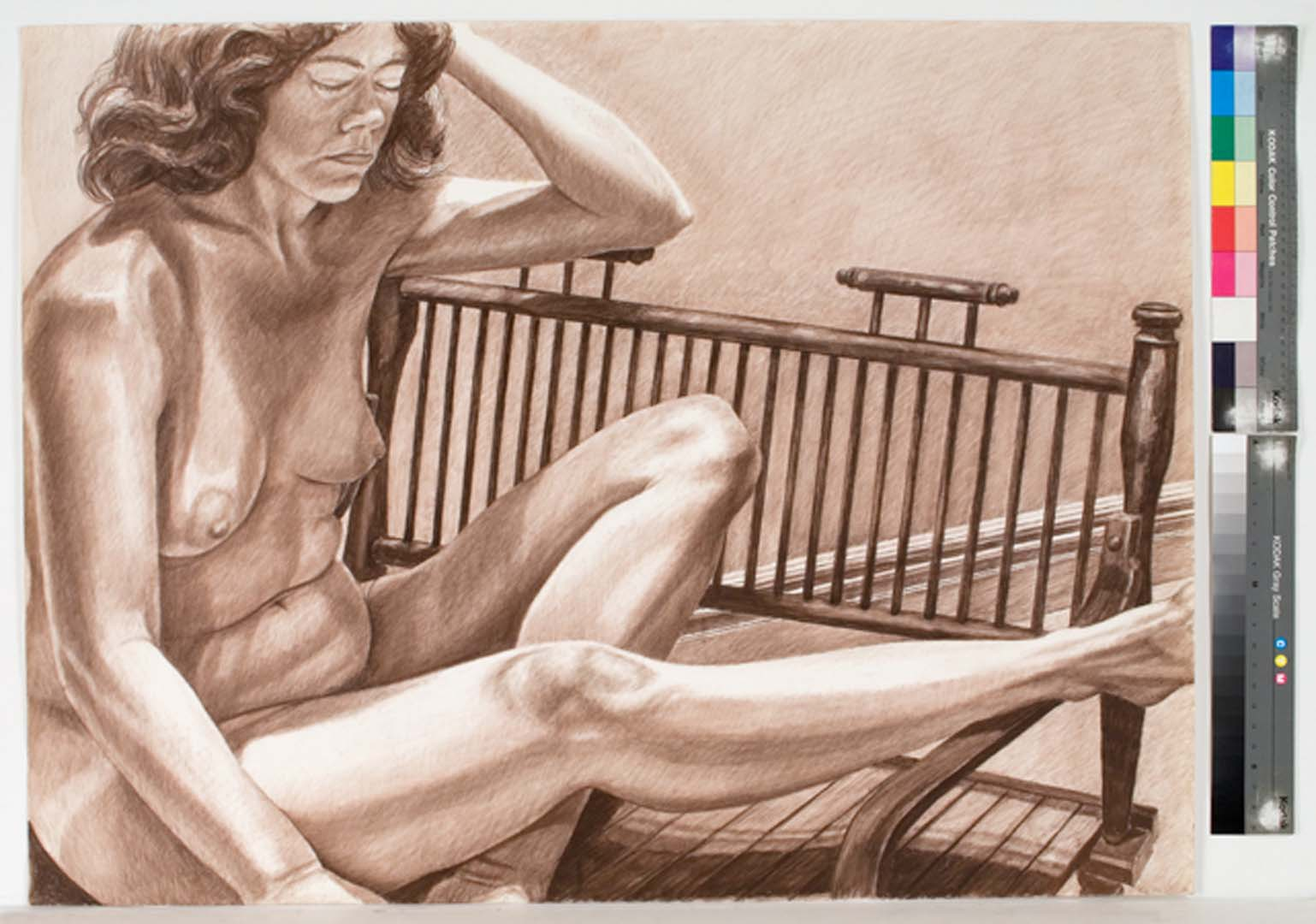 1983 Model with Leg Extended on Wooden Bench Conte Crayon 30 x 40
