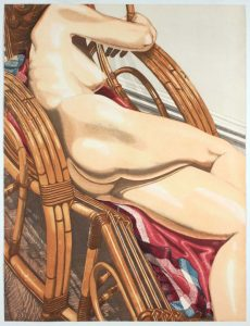 1984 Nude on Bamboo Aquatint Etching on Paper 40.25 x 30.5