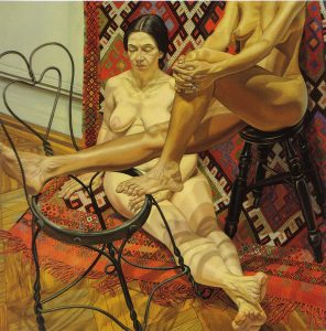 1984 Two Models with Bent Wire Chair and Kilm Rug Oil on Canvas 72 x 72