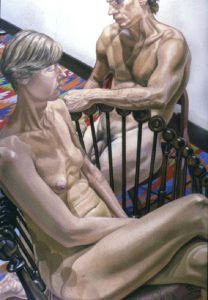 1985 Male and Female Models with Hunzinger Chair Oil on Canvas Dimensions Unknown