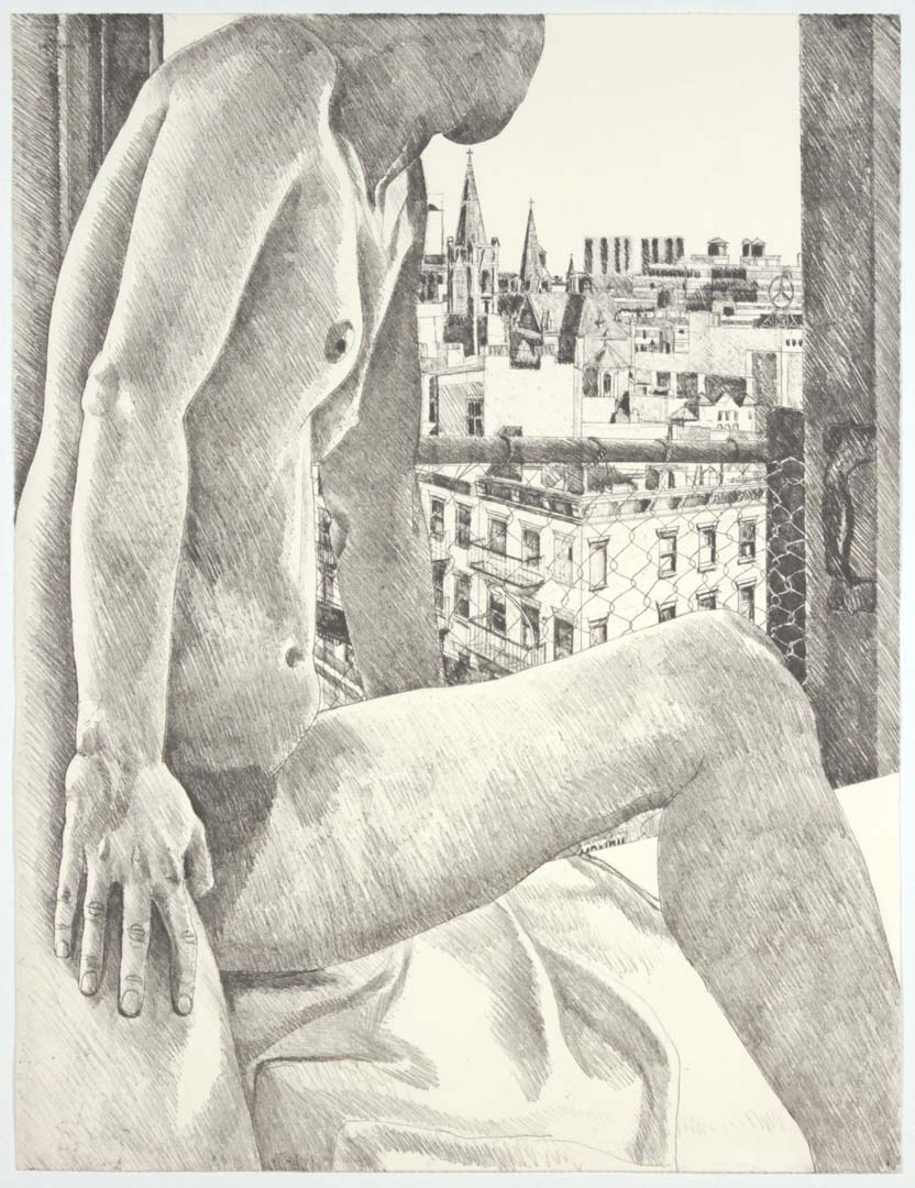 1985 Model & View of 9th Avenue Aquatint Etching on Paper 30 x 22.5