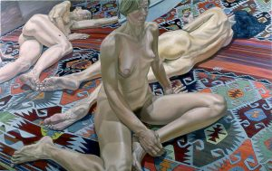 1985 Two Models and Reflection Oil on Canvas 60 x 96