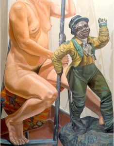 1986 Model on Ladder with Minstrel Figures Oil on Canvas 60 x 48