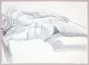 1986 Reclining Female Model Graphite 19 x 26.25