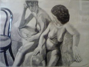 1986 Two Models on Steps with Bentwood Chair Pencil 30 x 40