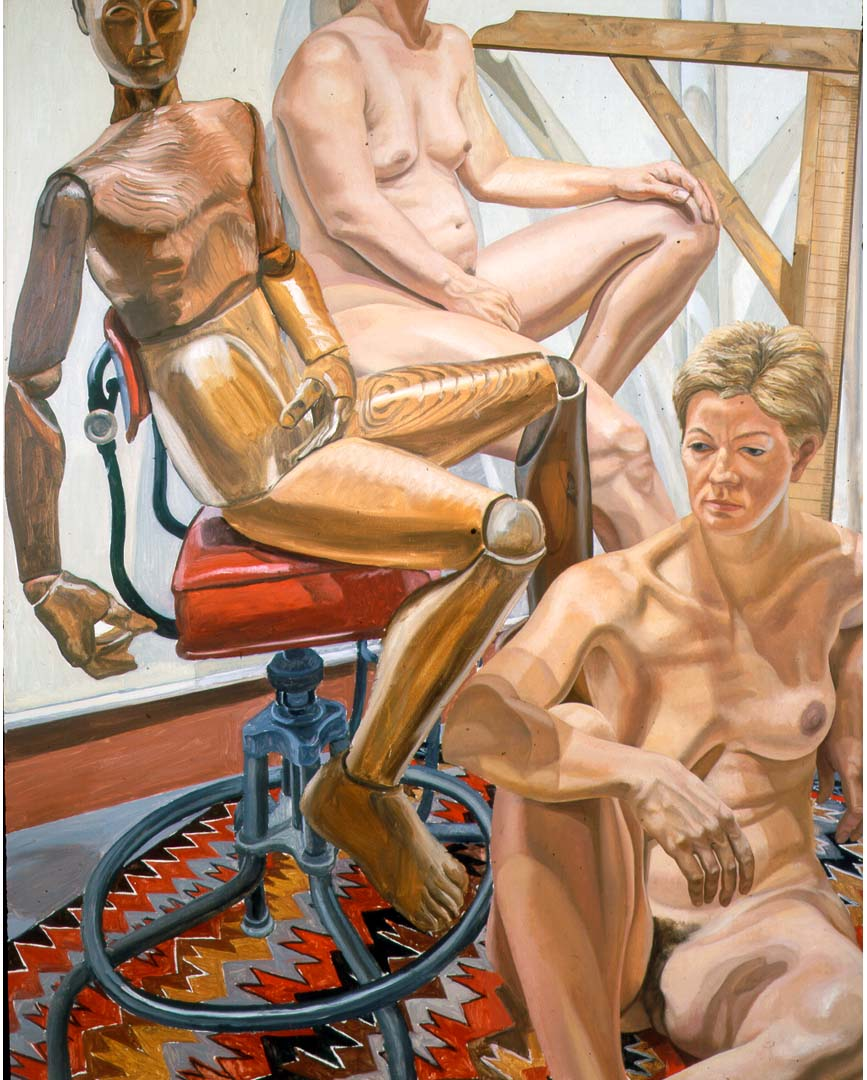 1986 Two Models with Wooden Mannequin Oil on Canvas 60 x 48