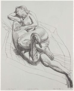 1987-88 Model with Wooden Swan (B&W) Lithograph on Paper 50 x 18