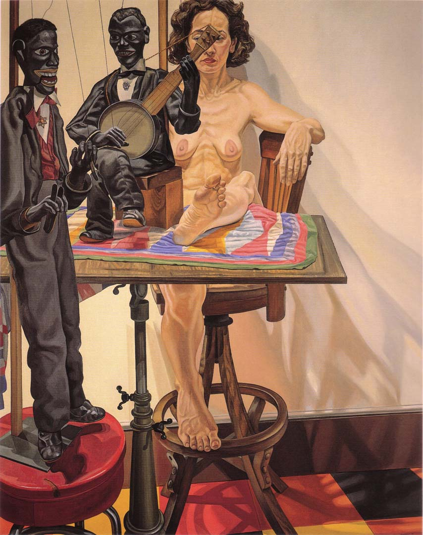 1987 Two Minstrel Marionettes and Model Oil on Canvas 76 x 60