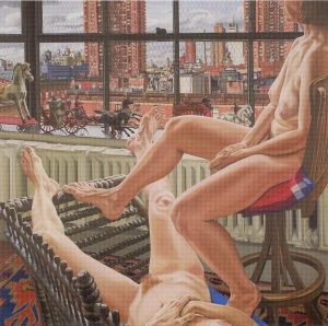 1987 Two Models in a Window with Cast Iron Toys Oil on Canvas Dimensions Unknown