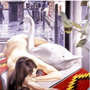 1989 Nude with Swan Decoy and Wet Rooftop Oil on Canvas 60 x 60