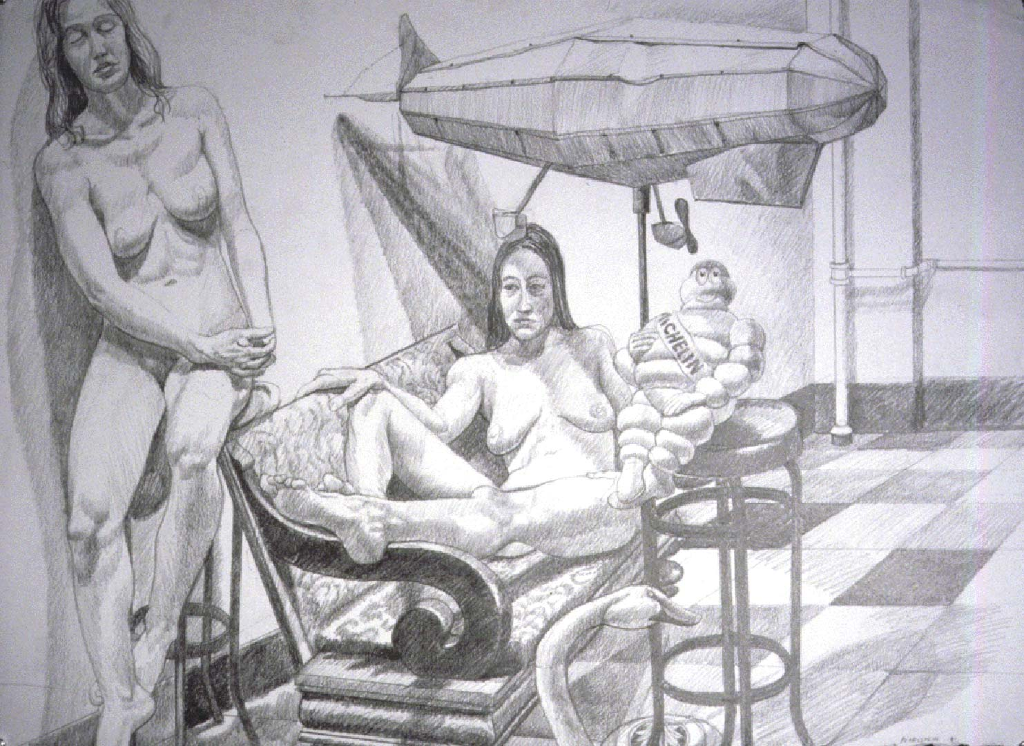 1990 Models with Blimp Pencil 30 x 40