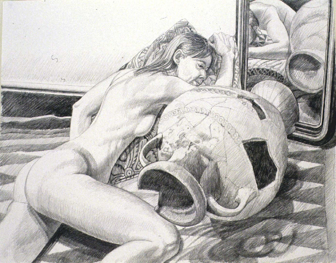 1990 Model with Etruscan Urn Pencil 23.25 x 29
