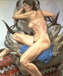 1990 Model with Horn Chair Oil on Canvas 72 x 60