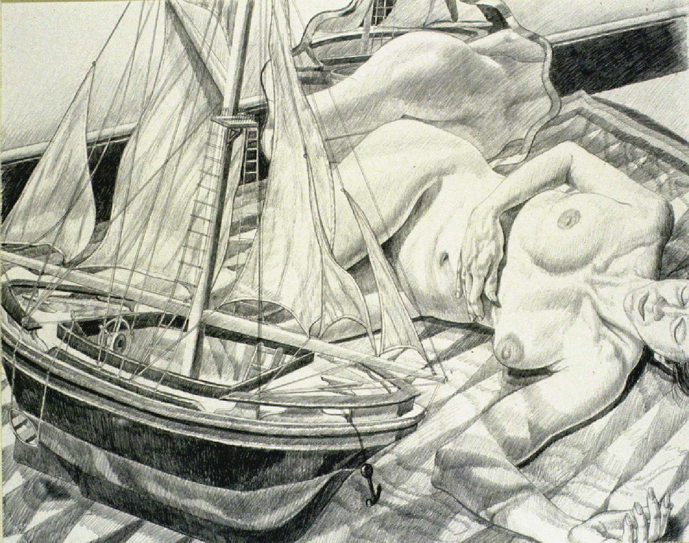 1990 Model with Model Boat Pencil 23.125 x 29