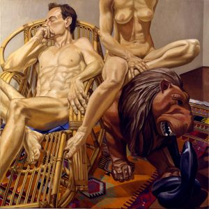 1991 Male and Female Nudes with Luna Park Lion and Bamboo Chair Oil on Canvas 60 x 60