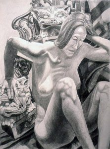 1991 Model with Two Fox Heads Pencil on Paper 39.75 x 29.75