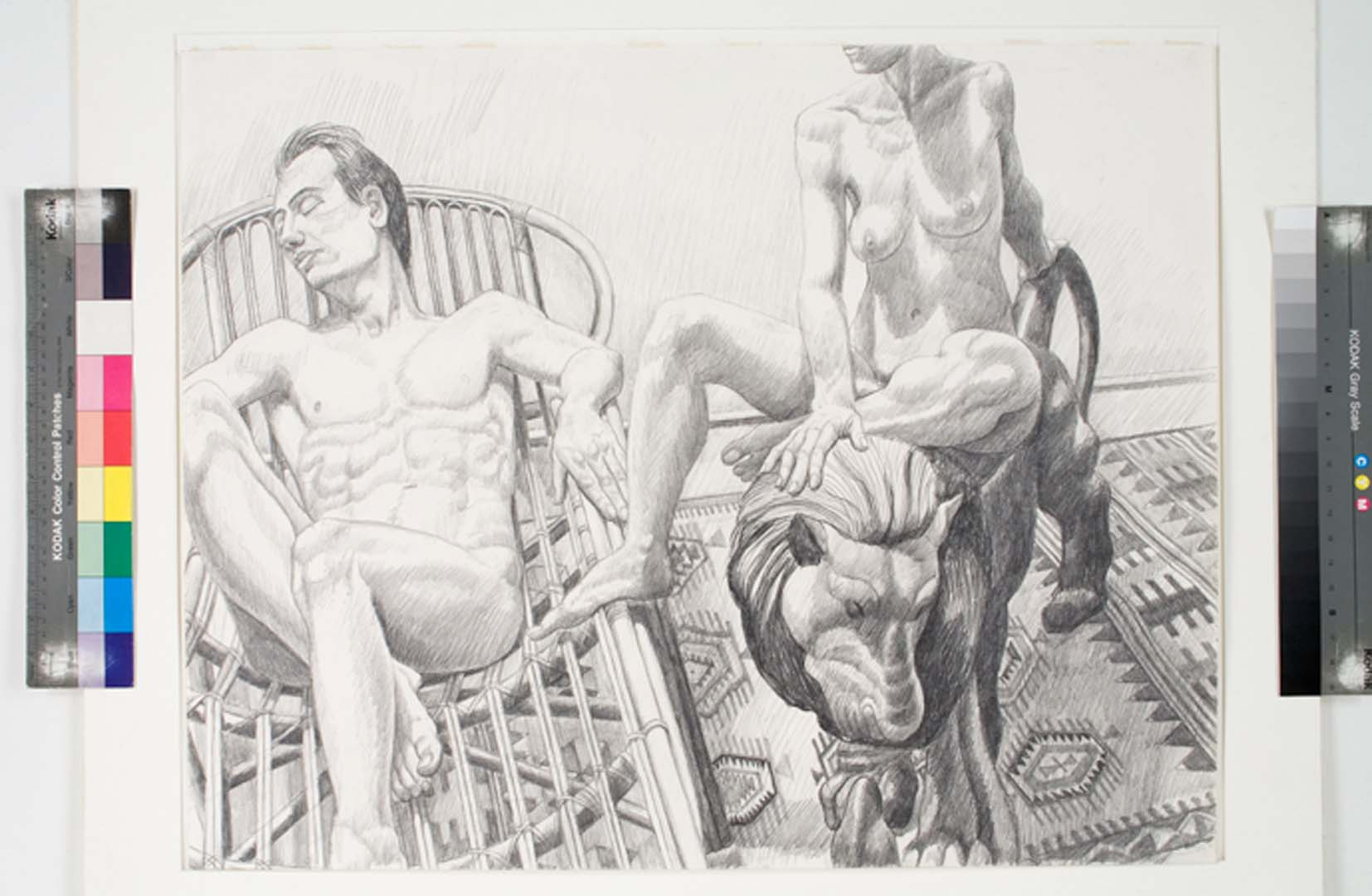 1991 Seated Nudes with Bamboo Recliner and Lion Pencil 23 x 29