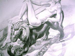 1992 Female Reclining on Lion Pencil 30 x 40