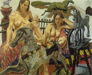 1992 Models with Folk Art Horses Oil on Canvas 60 x 74
