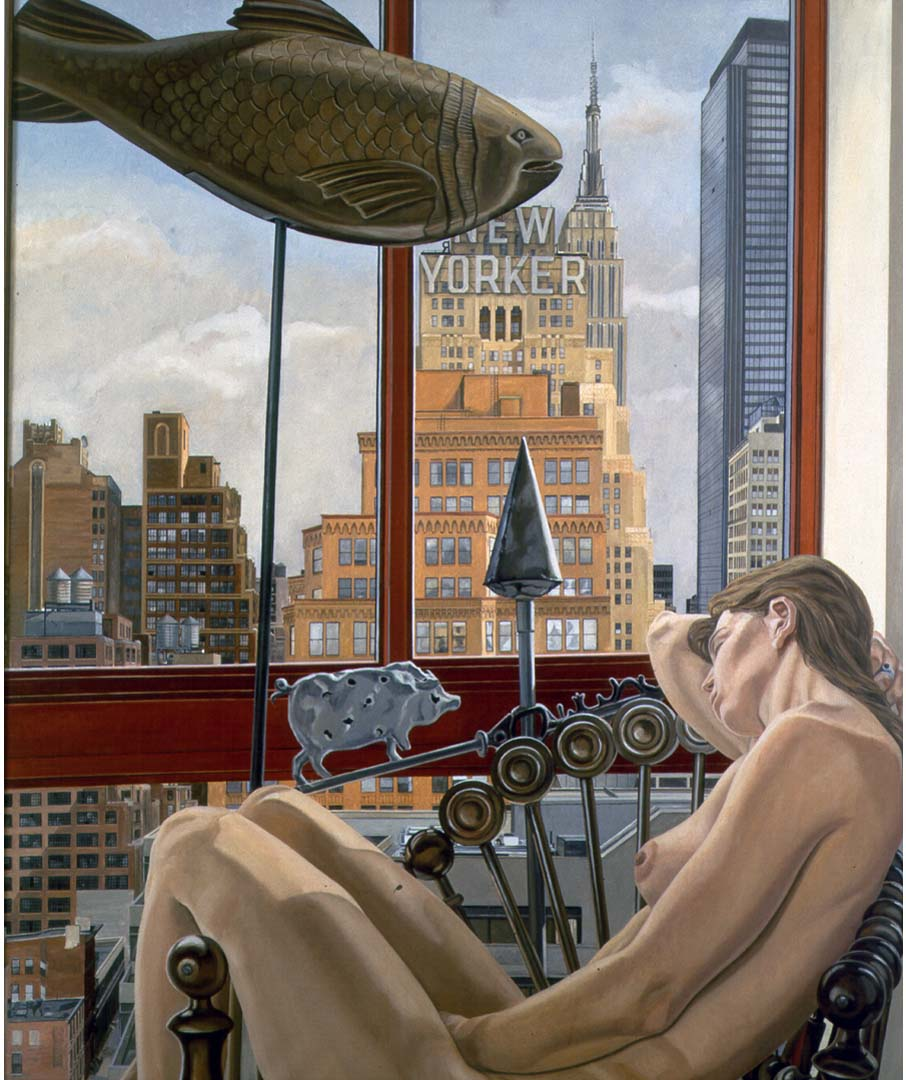 1992 Model with Empire State Building Oil on Canvas 72 x 60