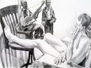 1992 Model with Marionettes Pencil 30 x 40