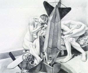 1992 Study for Models with Dirigible Weathervane Pencil 30 x 40