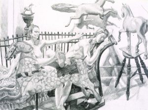 1992 Study for Models with Folk Art Horses Pencil 26 x 30