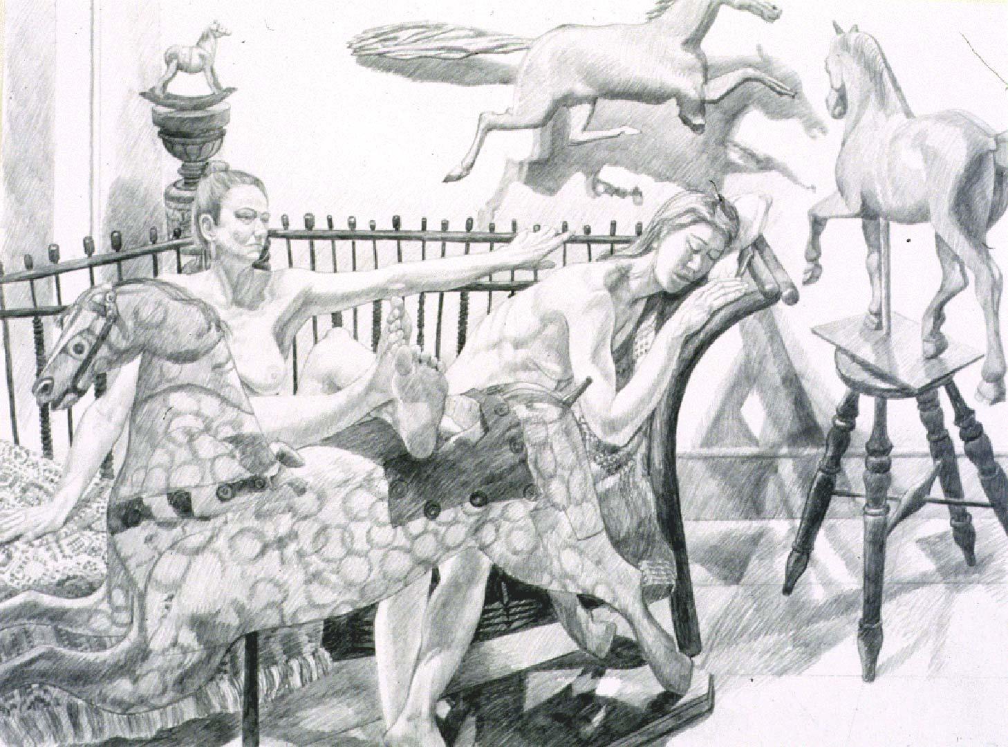 1992 Study for Models with Folk Art Horses Pencil 26 x 30