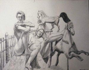 1992 Two Models with Folk Art Horses Pencil 26 x 30