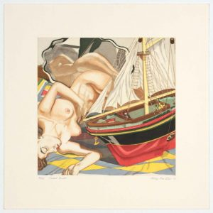 1993 Model Boat Aquatint Etching on Paper 13 x 13