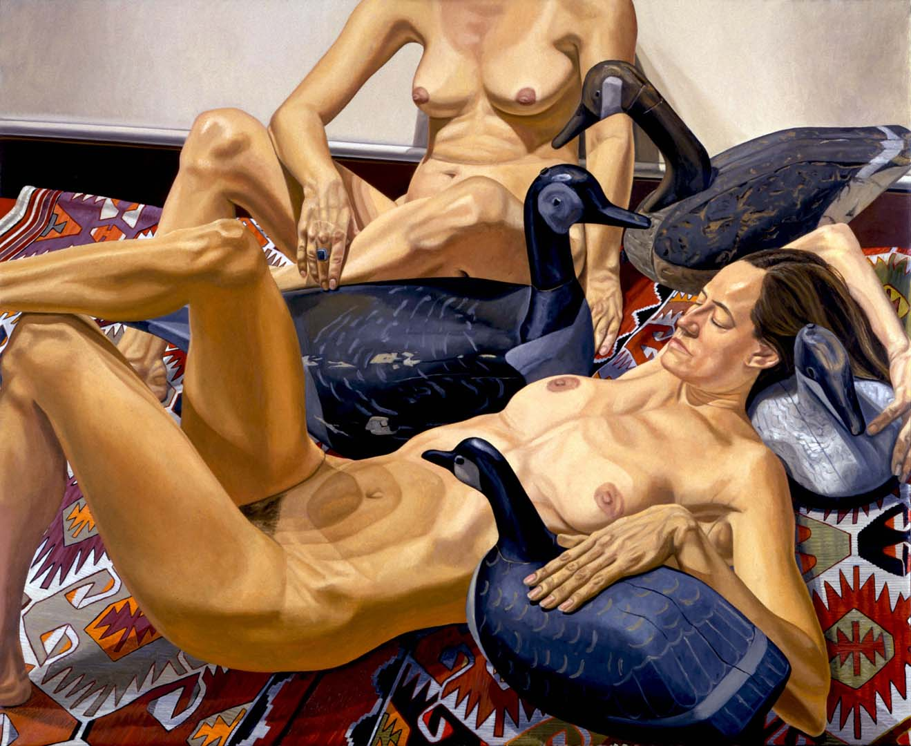 1994 Two Nudes and Four Goose Decoys Oil on Canvas 60 x 72