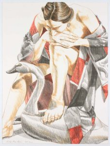 1995 Model with Robe and Wooden Swan Lithograph on Paper 24 x 18