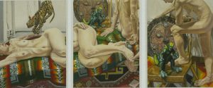 1995 Sepik River Triptych Oil on Canvas 48 x 116