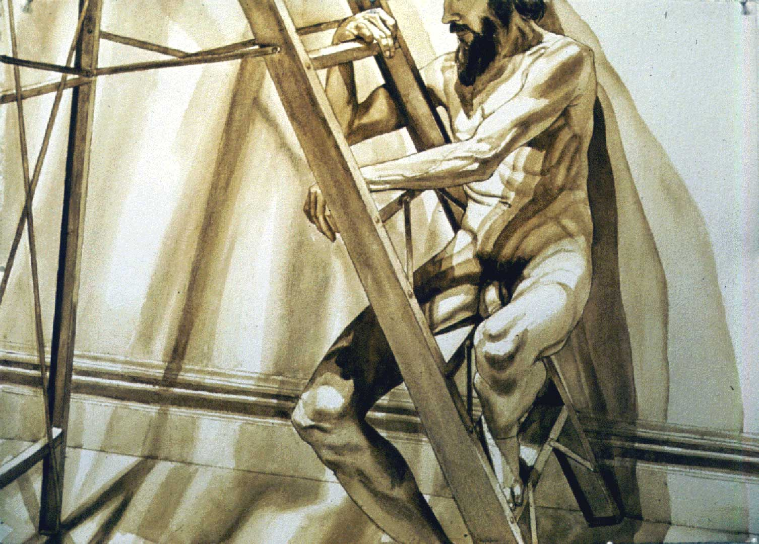 1996 Male Model on Ladder Sepia Wash 29.25 x 41