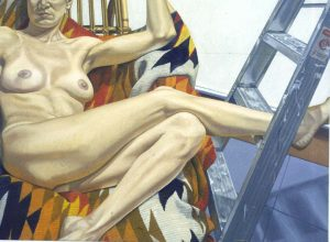 1996 Nude with Navajo Rug and Aluminum Ladder Oil on Canvas 46 x 48