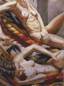 1997 Two Reclining Nudes with Navajo Blanket Watercolor on Paper Dimensions Unknown