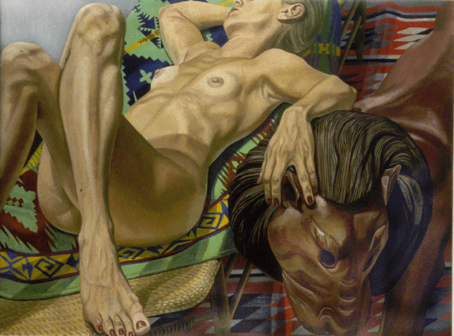 1998 Model with Crossed Legs and Luna Park Lion Oil on Canvas 36.25 x 48