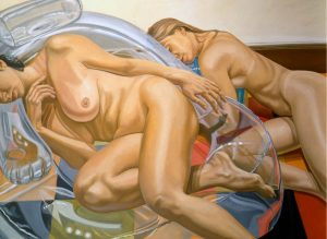 1998 Two Models with Blow Up Chair Oil on Canvas 48 x 66