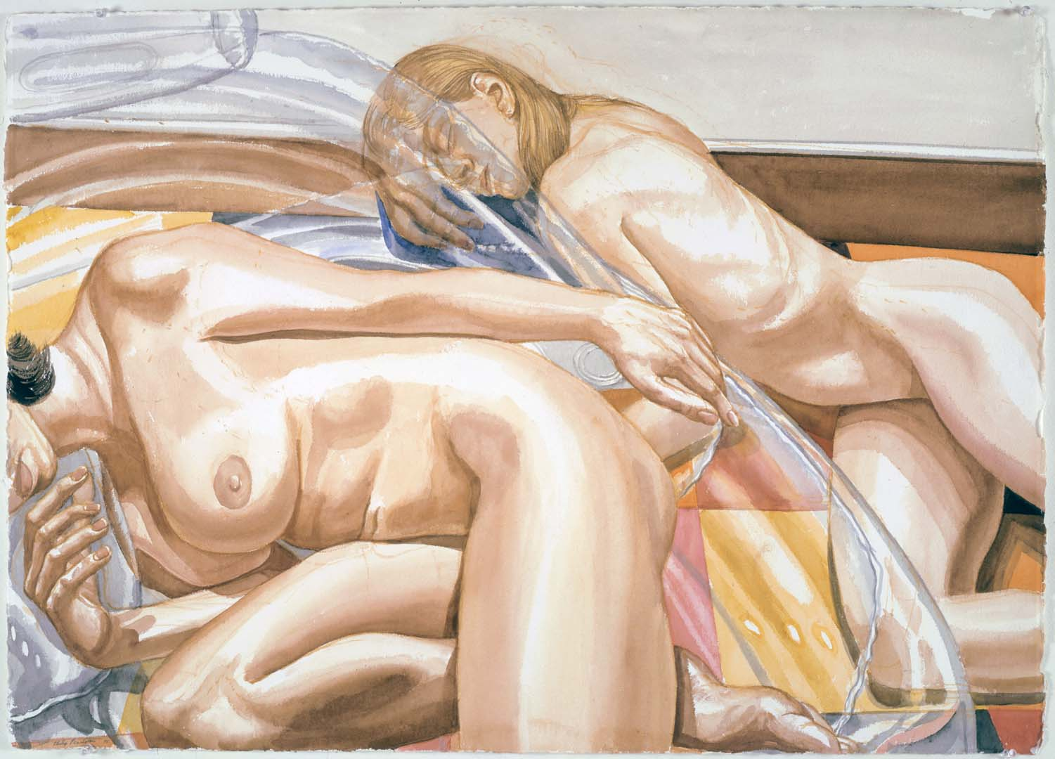1998 Two Models with Inflatable Chair and Linolium Floor Watercolor on Paper 29.375 x 40