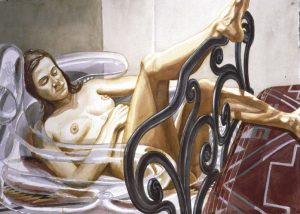 1999 Model on Blow-up Chair with Legs on Bed Watercolor on Paper Dimensions Unknown