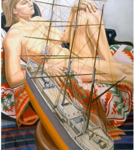1999 Model with Model of Tall Ship Oil on Canvas 50.5 x 44.5