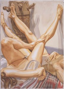 1999 Two Models on Blow-Up Chair with Old African Drum Watercolor on Paper 42 x 30