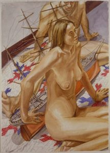 2000 Male and Female Models with Model of Tall Ship Watercolor on Paper 41.375 x 29.625