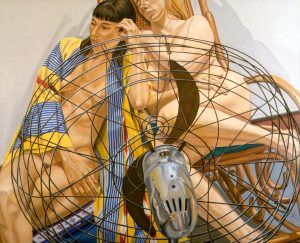 2000 Two Models with Fan in Front Oil on Canvas 48 x 60