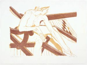 2003 Model on Deck Chair Aquatint Etching on Paper 22.25 x 30